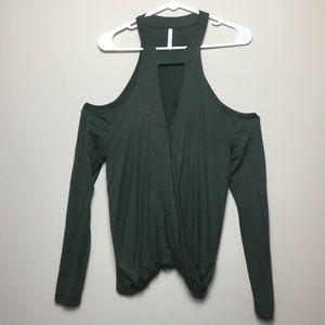 Active USA Boutique Green Cold Shoulder Blouse